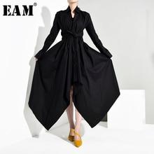 [EAM] Donne di Colore Fasciatura Asimmetrico Camicia di Vestito Nuovo Turn giù il Collare Manica Lunga Loose Fit Moda Primavera autunno 2020 JY7780