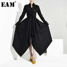 [EAM] Women Black Bandage Asymmetrical Shirt Dress New Turn down Collar Long Sleeve Loose Fit Fashion Spring Autumn 2020 JY7780