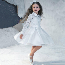 Dresses Flower-Girl Princess Pageant-Gowns Lace Tulle White Sleeveless for Fluffy Custom-Made