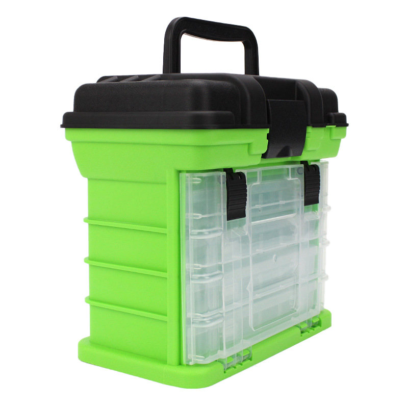 Portable 5 Layer PP+ABS Fishing Tackle Box with Plastic Handle Big Fishing Lures Tools Box Fishing Accessories Case 26x17x26cm (6)