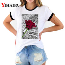 Women 3D T Shirts Floral Rose Print Graphic Tee Vintage Flower T-shirt Summer Short Sleeve White Casual Tops Camisas Mujer short sleeve floral graphic tee