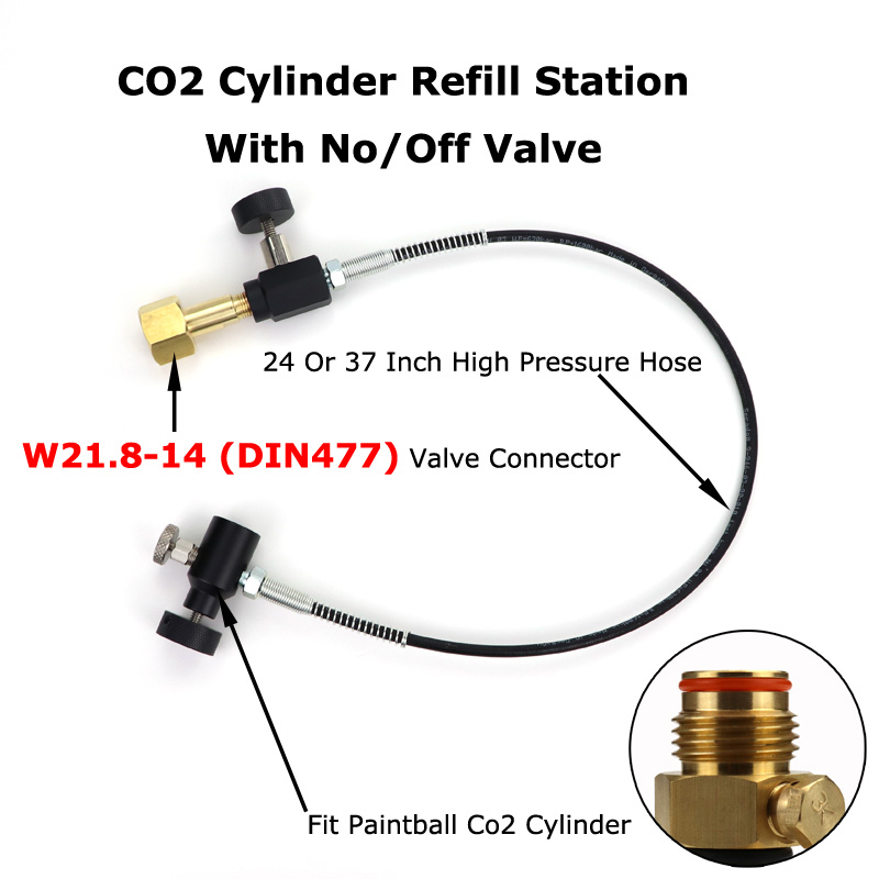 NEW Paintball PCP CO2 Mini Refill Station With No/OFF Valve And Hose W21.8-14 (DIN477) Connector