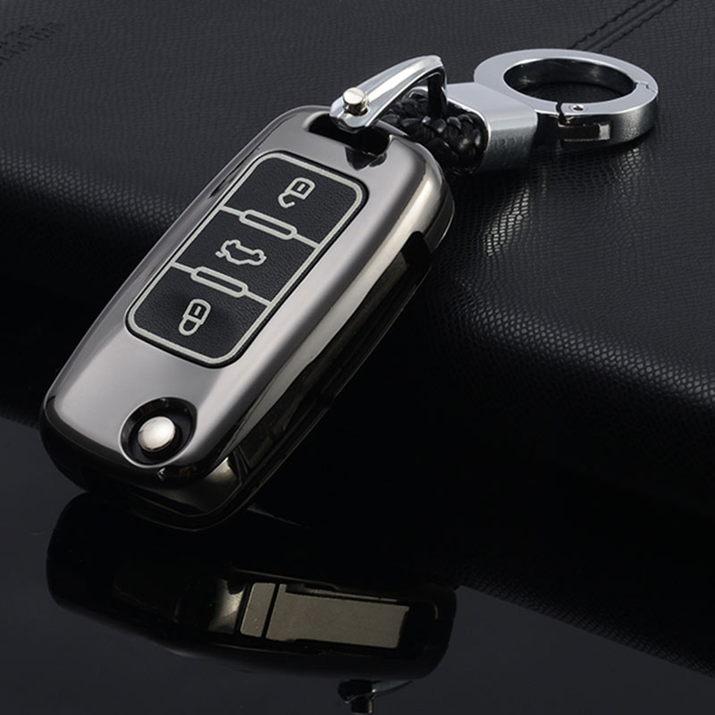 Alloy Leather Car-Styling Key Cover Case For Skoda Kodiaq Rapid Octavia 1 2 A5 A7 Superb A7 Yeti For <font><b>VW</b></font> <font><b>Golf</b></font> <font><b>7</b></font> <font><b>GTI</b></font> MK7 Tiguan image
