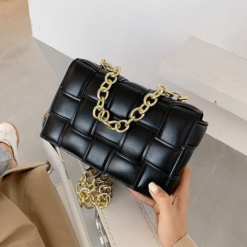 Weave Chain Small Crossbody Bags for Women 2021 Luxury Quality Pu Leather Shoulder Bag Female Trend Design Handbags and Purse