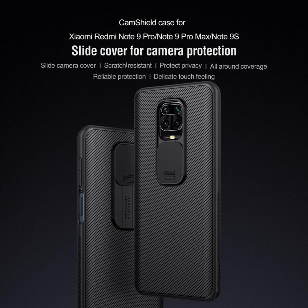 for Xiaomi Redmi Note 9 Pro Max 9s Case Casing Nillkin Frosted Hard PC Textured Slide Camera Lens Protect Soft Silicon Cover Bag