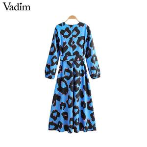 Image 2 - Vadim women fashion print maxi dress V neck bow tie sashes long sleeve one piece female ankle length dresses vestidos QC973