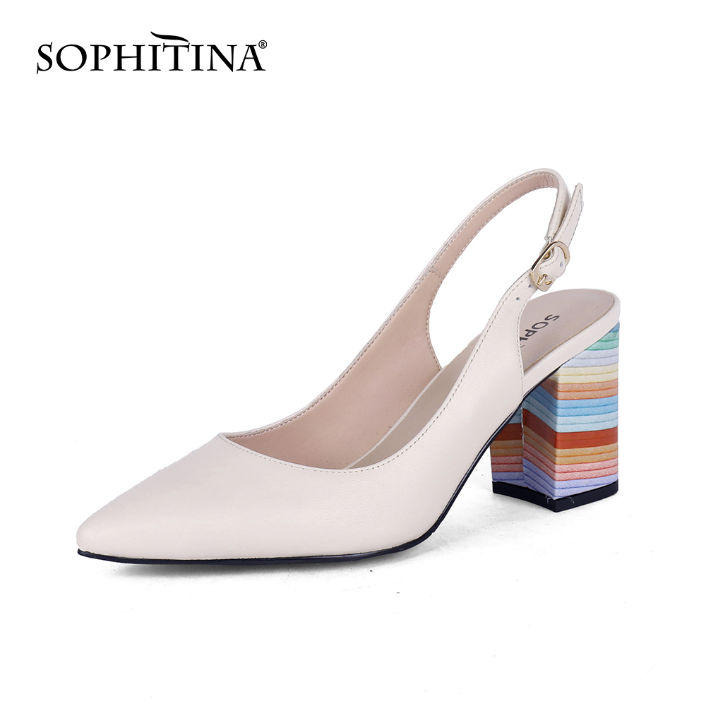 SOPHITINA New Fashion Summer Sandals Women Buckle Classics Square Heel Mixed Colors Sandals Pointed Toe Party Women Shoes SC703