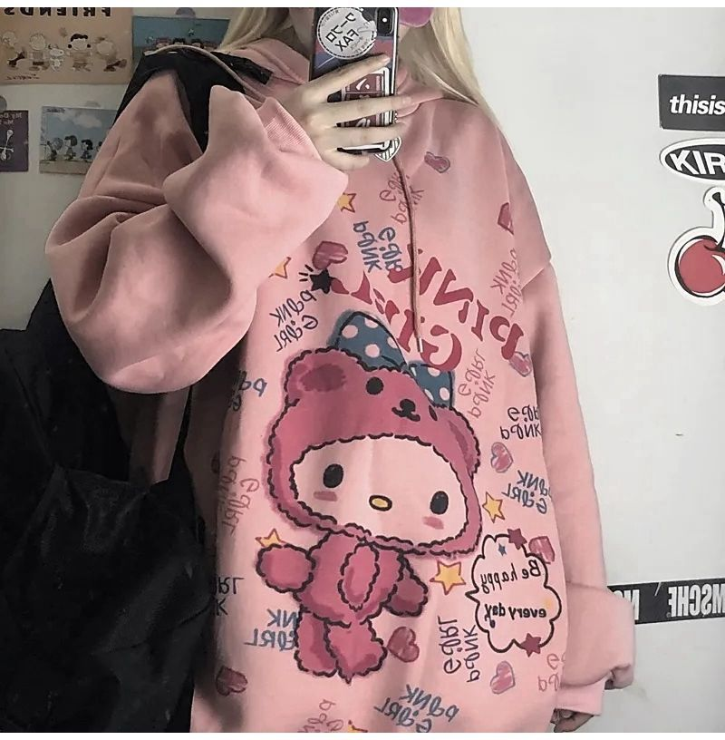 HOUZHOU Anime Hoodie Women Autumn Kawaii Fashion Sweatshirt Women Korean Long Sleeve Print Tops Vintage Oversized Cute Hoodie 1