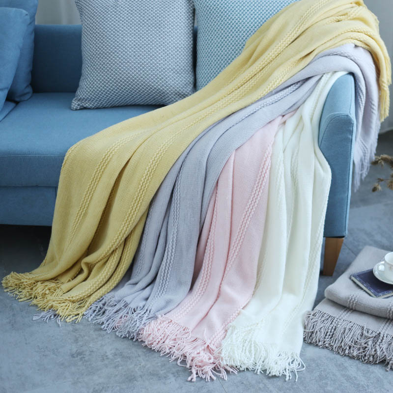 Image 5 - Nordic Knitted Throw Thread Blanket on the Bed Sofa Plaid Travel TV Nap Blankets Soft Towel Bed Plaid Tapestry-in Blankets from Home & Garden