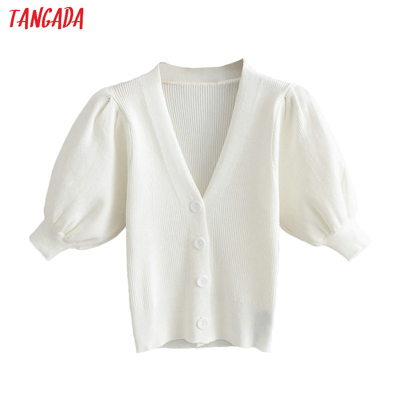 Tangada Women Elegant White Cardigan Puff Short Sleeve Jumper Lady Fashion Crop Knitted Cardigan Coat AI04