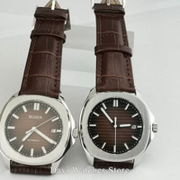 40mm Bliger/Sterile Watch Clock Man Coffee Dial Date Sapphire Glass Automatic Mens Square Watch