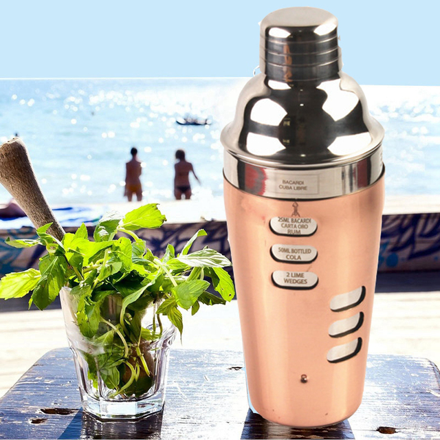 700ml bar tools copper wine mojito cocktail maker cocktail shaker drink mixer leak-proof shake flask with marking Шейкер