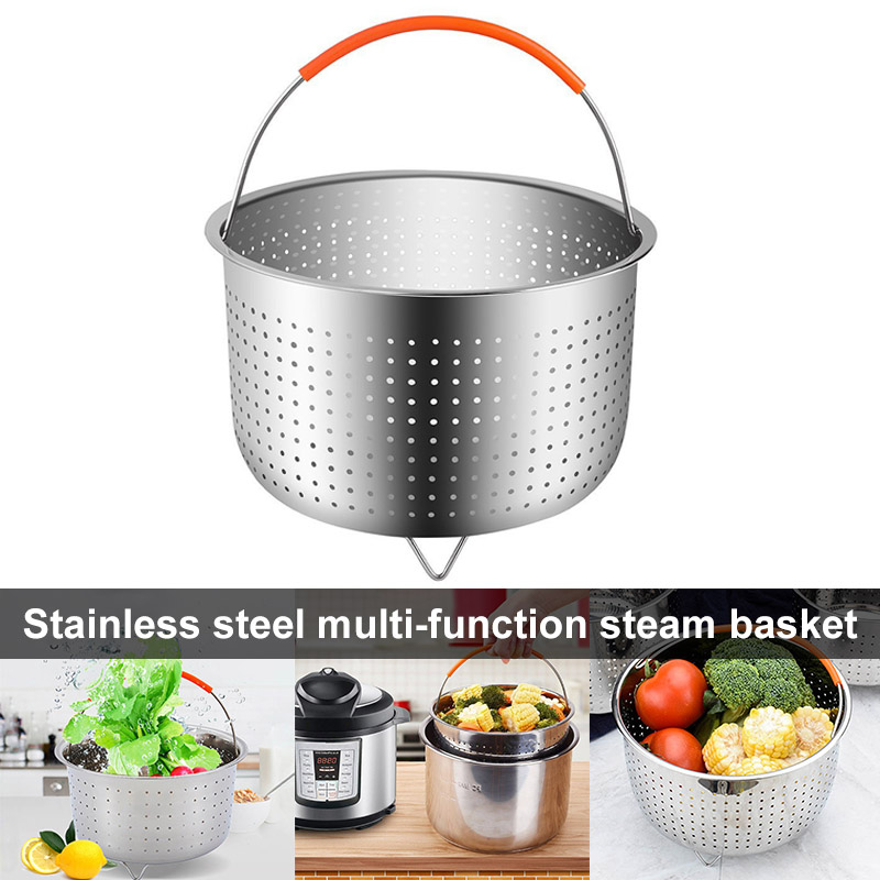 Hot Stainless Steel Steamer Basket Vegetable Drain Basket Pressure Cooker Home Kitchen Tool D6