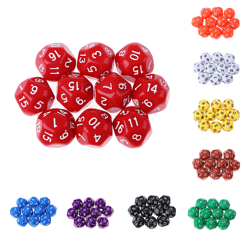 10pcs 16 Sided D16 14mm Acrylic Opaque Dice for Role Playing Game RPG Party Birthday Gaming Dice