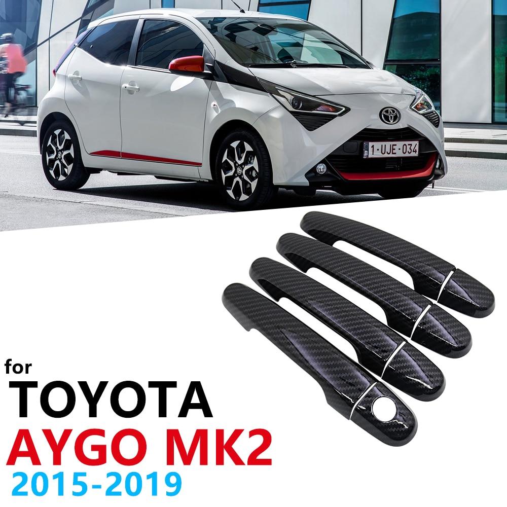 Porta de fibra de carbono cor preta, alças, guarnição, conjunto para toyota aygo mk2 2015 2016 2017 2018, acessórios para carro boné de estilização