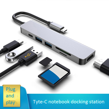2020 USB 3.0 2.0 typ C Adapter Hab 6 w 1 podwójny port USB typu C dla MacBook Pro 4K HDMI USB C SD TF czytnik kart MicroSD Splitter