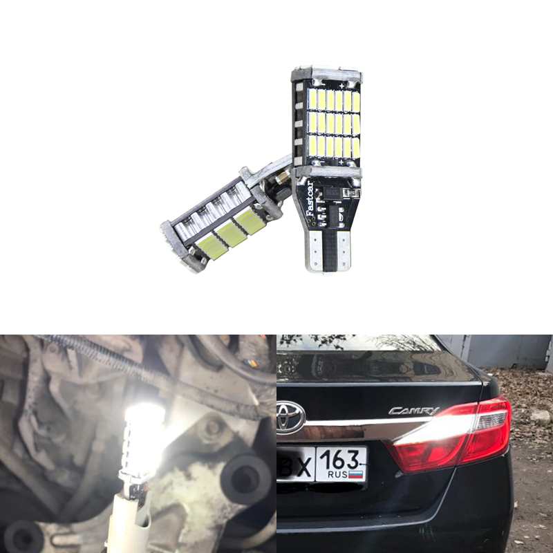 2x T15 Led W16W Car Led 912 921 Backup Reverse Lights Bulb For <font><b>Toyota</b></font> Corolla Yaris RAV-4 <font><b>Highlander</b></font> Auris Camry Prius Sienna image