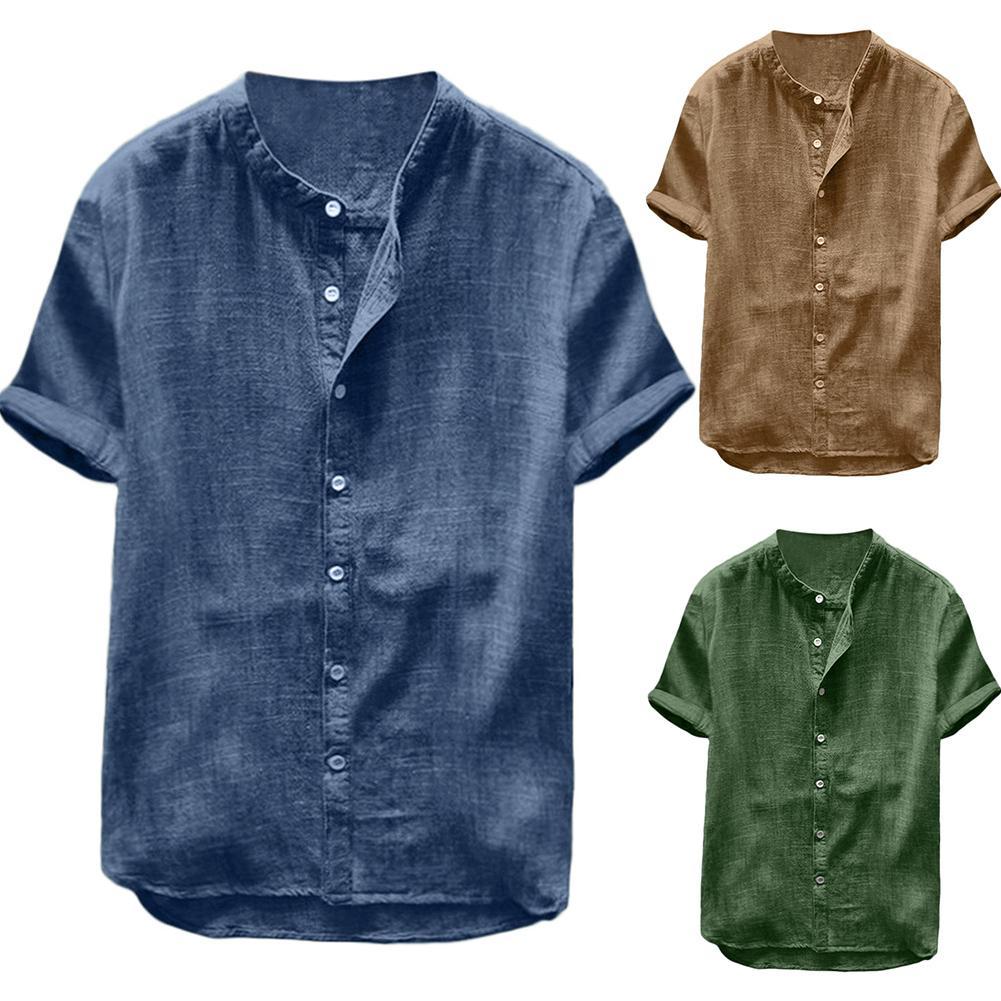 Summer Men Cotton Linen Blouse Casual Solid Color Short Sleeve Cotton Linen Button Down Beach Loose Holiday Shirt Comfortable