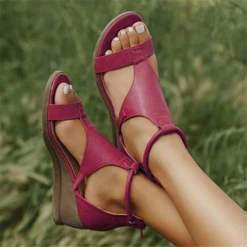 2020 Women Summer Sandals Mid Heels Wedges Shoes Woman Vintage Gladiator office Sandalias Party Beach Shoes Plus Size Dropship image