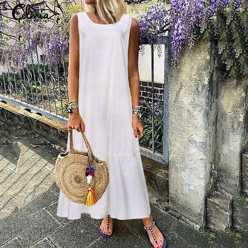 Plus Size Sundress Women Retro Linen Long Maxi Dress Celmia 2019 Summer Sleeveless Casual Loose Pleated Shirt Vestido Robe Femme