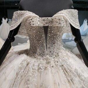Image 4 - HTL1037 2020 새로운 볼 가운 웨딩 드레스 아가씨 칼라 어깨 위로 레이스 위로 디자인 웨딩 드레스 vestido de noiva