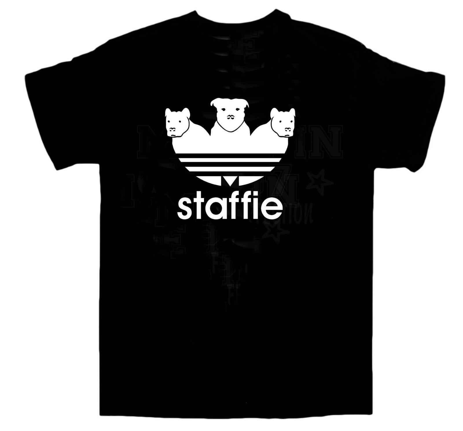 Addidas Spoof Staiffie футболка для собак/Chav/Спорт/День рождения/Рождество/все размеры мужской хип-хоп Забавные футболки дешевые оптом