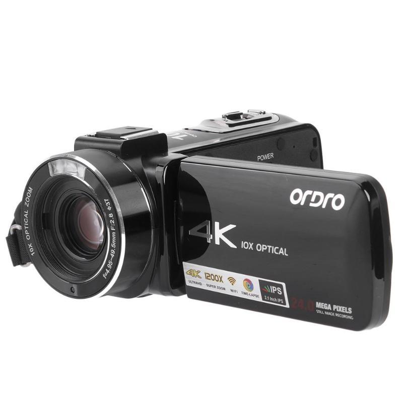 Caméscopes numériques Ordro AC7 4K UHD FHD 24MP 120X Zoom numérique 10X optique WiFi DV Mini caméscopes Cam