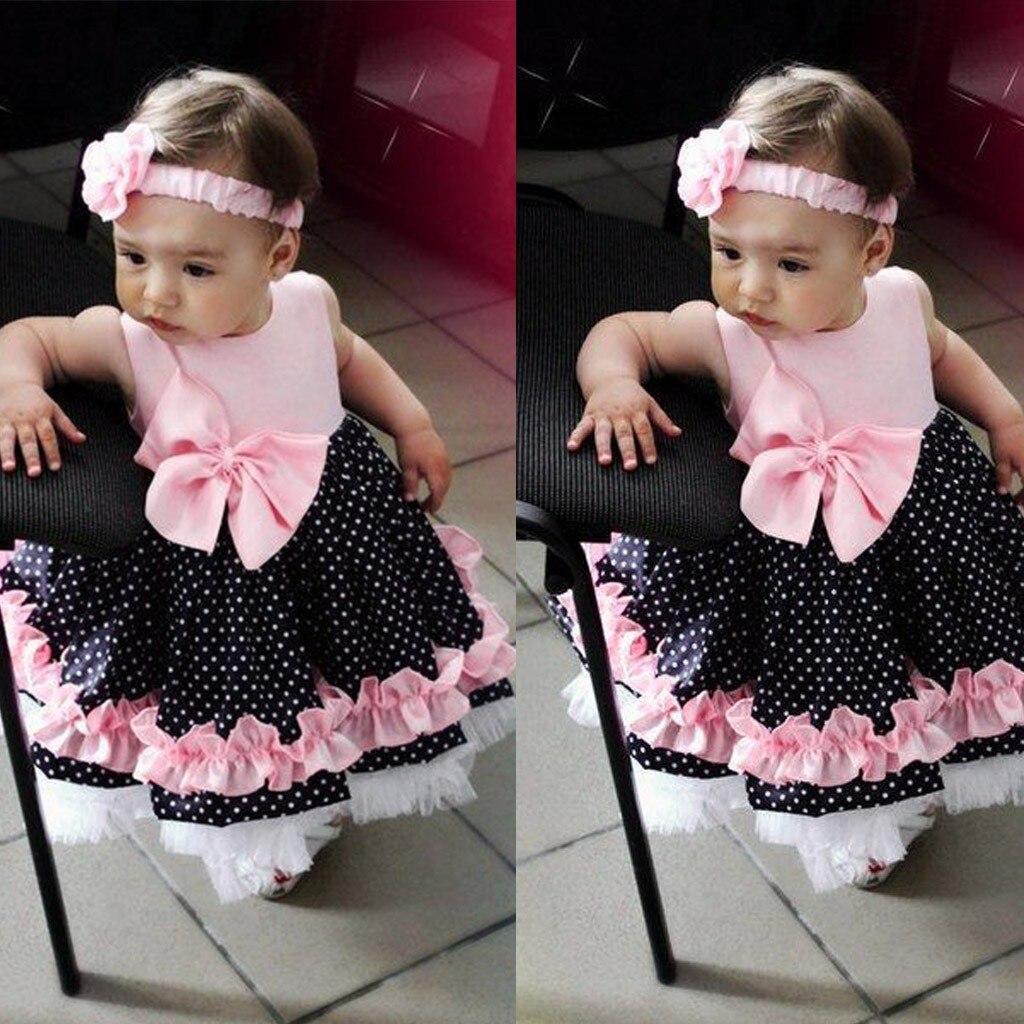 Baby Girl Dress Children Kids Baby Girls Sleeveless Bow-knot Wave Print Princess Vest Dress Girl Cute Dress Summer Dress