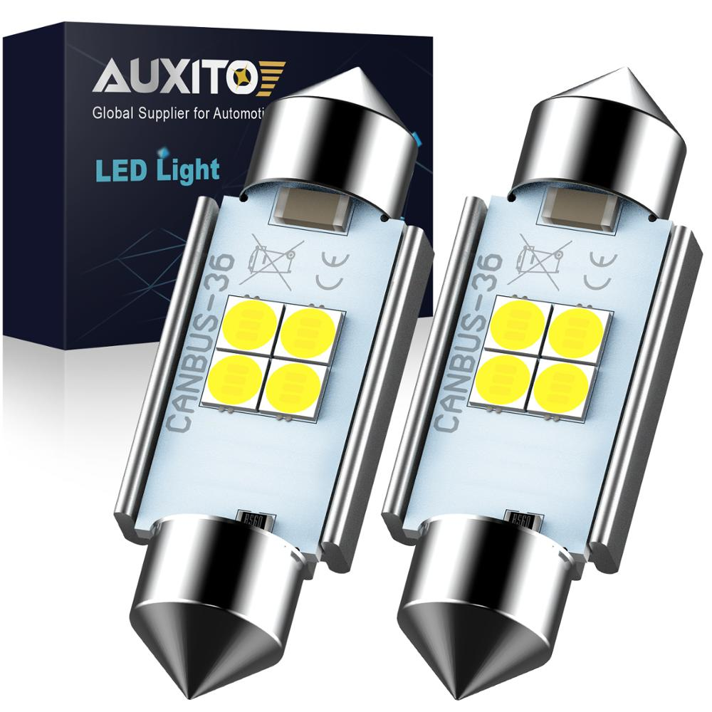 AUXITO High Quality 31mm 36mm 41mm C5W C10W 3030 LED CANBUS Car Festoon Light Auto Interior Dome Lamp Reading Bulb 6000K White