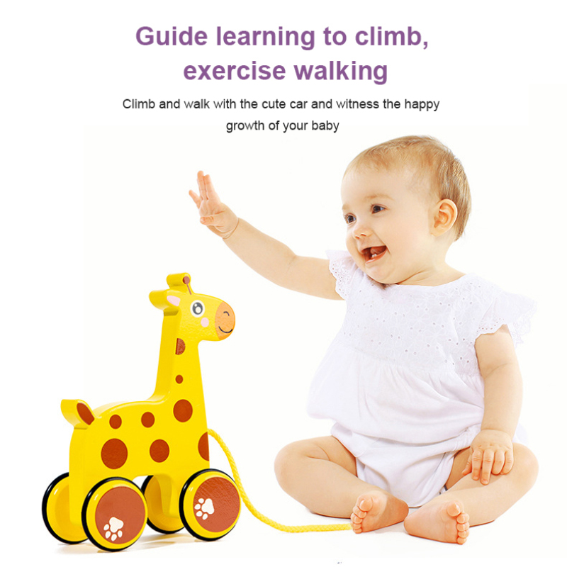 New Pull Animal Newborn Early Teaching Walker Toys Baby Toddler Toy Cartoon Animal Trailer Toddler Hand Push Pull Toys Baby Gift