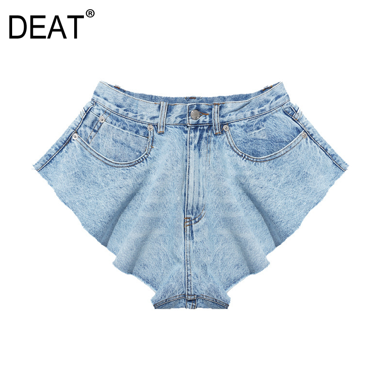 DEAT 2020 New Summer Fashion Mesh Clothing Light Blue Denim Washed Pockets Zippers Shorts Female Bottoms WL38605L