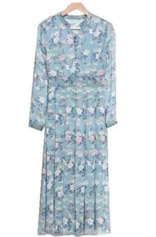 2019 New Sukienki Autumn clothes New Long sleeves Printing Chiffon Dress Slim Bohemia Long Large size Women Sukienki dress DC987