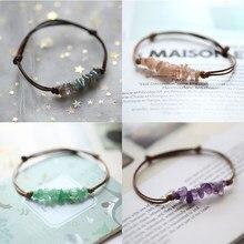 Diy cristal charme pulseiras para mulheres artesanal corrente de couro ajustável ametista pedra natural chakra pulseiras presente