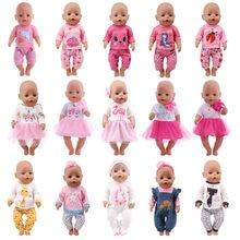 Boneca roupas de bebê unicórnio kitty vestido apto 18 Polegada americano & 43 cm renascer recém nascido boneca do bebê og menina boneca rússia presente diy brinquedo