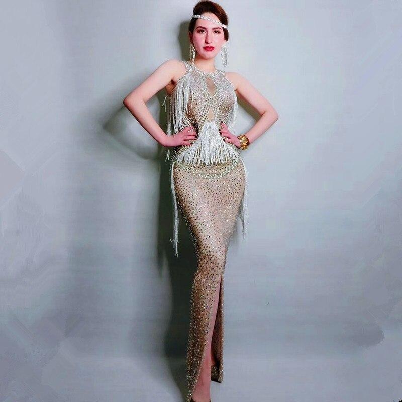 Sparkly Crystals Fringes Dress Singer Performance Dresses Party Celebrate Glisten Rhinestones Sleeveless Long Dresses DN1166