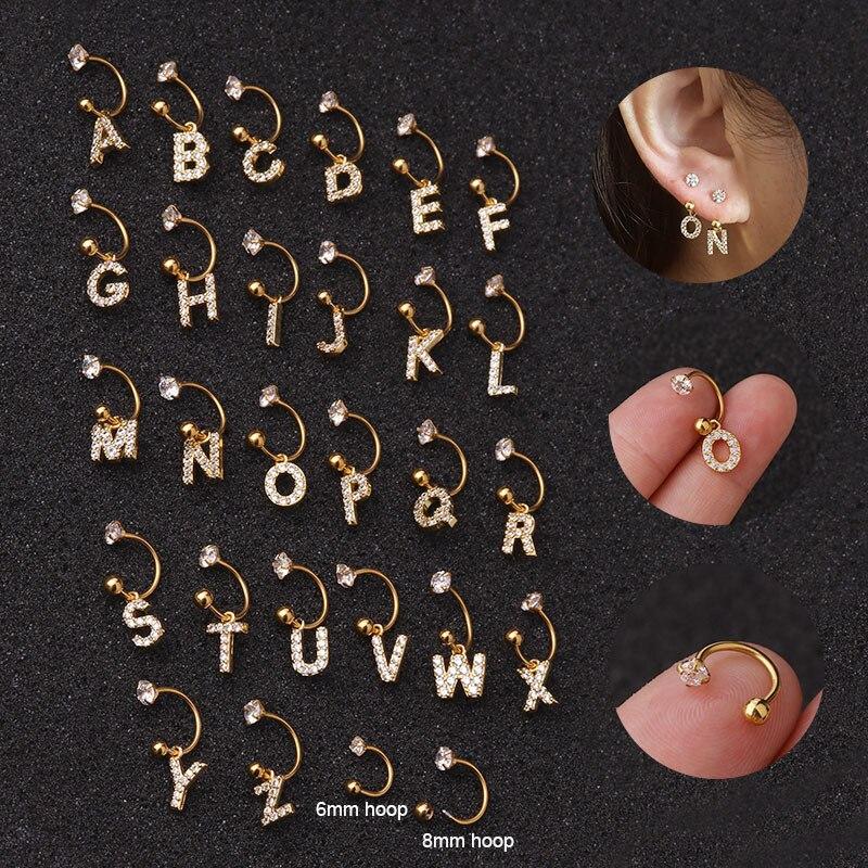 1PC 26 English Letter Zircon Pendant Hoop Ear Cartilage Earrings Stainless Steel Initial Ear Puncture Helix Piercing Earring(China)