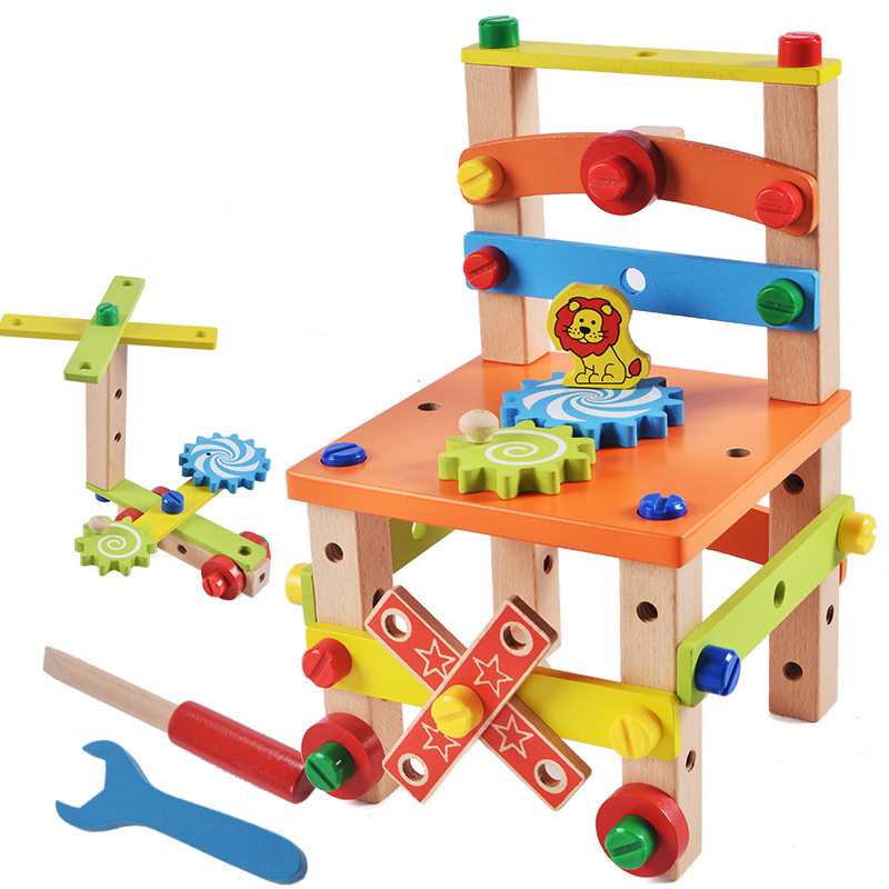 Wooden Assembling Chair Montessori Toys Boys Educational Wooden Toys Multifunctional Variety Nut Combination Assembly Tool Chair