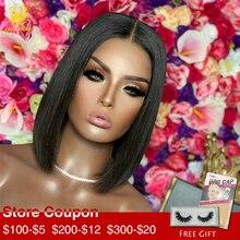 Alisa Hair Short Bob Wig Lace Front Human Hair Wigs Middle Part Virgin Brazilian Wig Full Lace Wigs for Black Women цена 2017