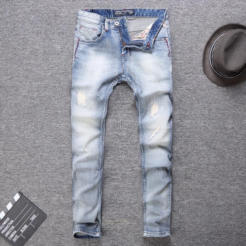 Italian Style Fashion Men Jeans Light Blue White Wash Slim Fit Classical Jeans Men Patchwork Vintage Designer Ripped Jeans Men