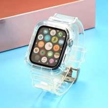 Прозрачный ремешок для apple watch band 5 4 38 40 42 44 мм силиконовый