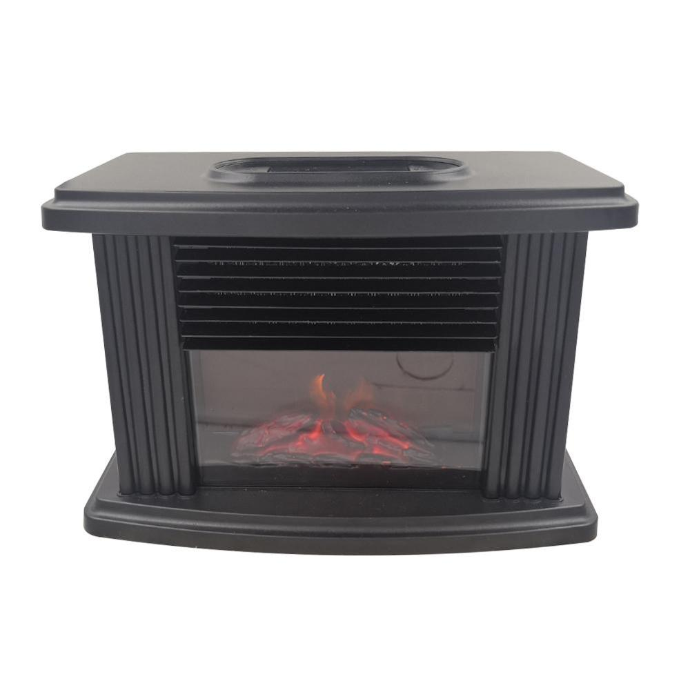 Electric Fireplace Heater Remote Control Tabletop Warmer Simulation Flame Heating Portable Mantelpiece Room Office Home Heating