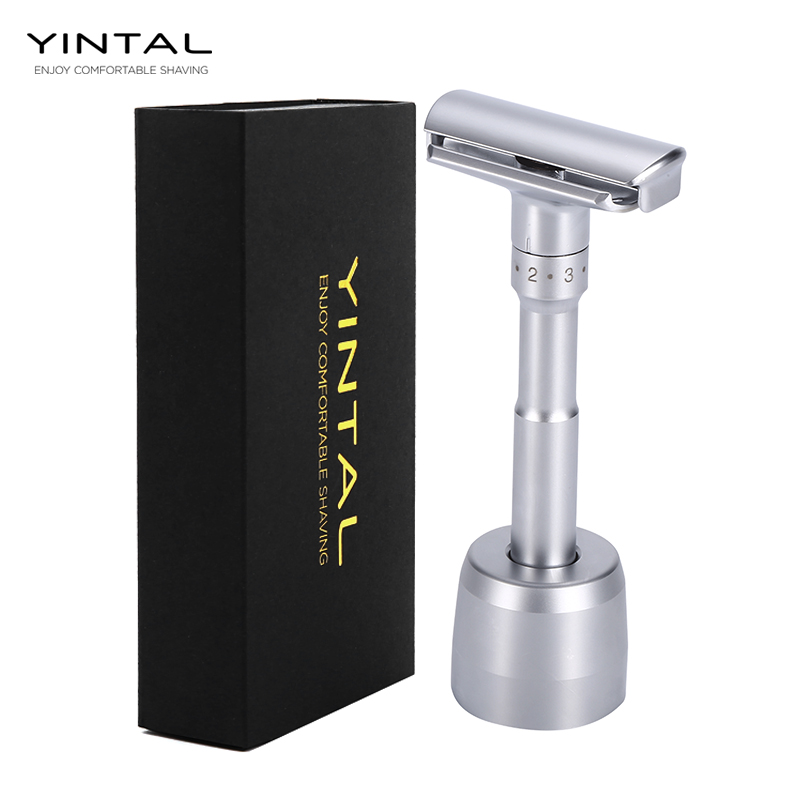 Adjustable Safety Razor Double Edge Classic Men Shaving Mild to Aggressive 1-6 File Hair Removal Shaver