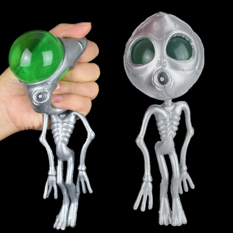 17cm Squishy Antistress Skeleton Alien ET Squeeze Rubber Ball Toys For Gag Joke Boys Kids Surprise Game Soft Childern Gift Skull
