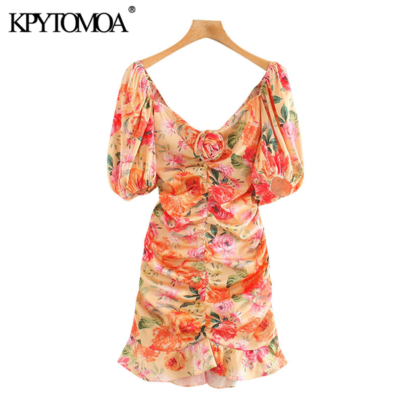 KPYTOMOA Women 2020 Chic Fashion Floral Print Ruffled Mini Dress Vintage Puff Sleeves Backless Bow Tied Female Dresses Vestidos