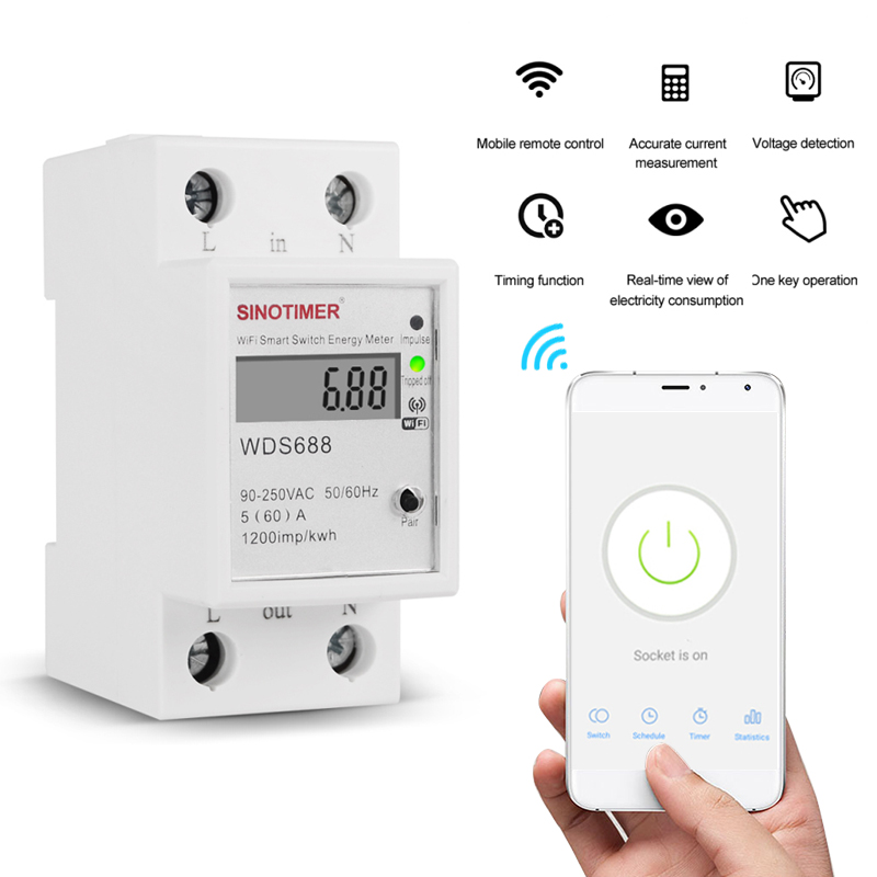 90-250V WiFi Smart Metering Energy Meter Tuya/smart Life APP Din Rail Single-phase Smart WIFI Metering Switch
