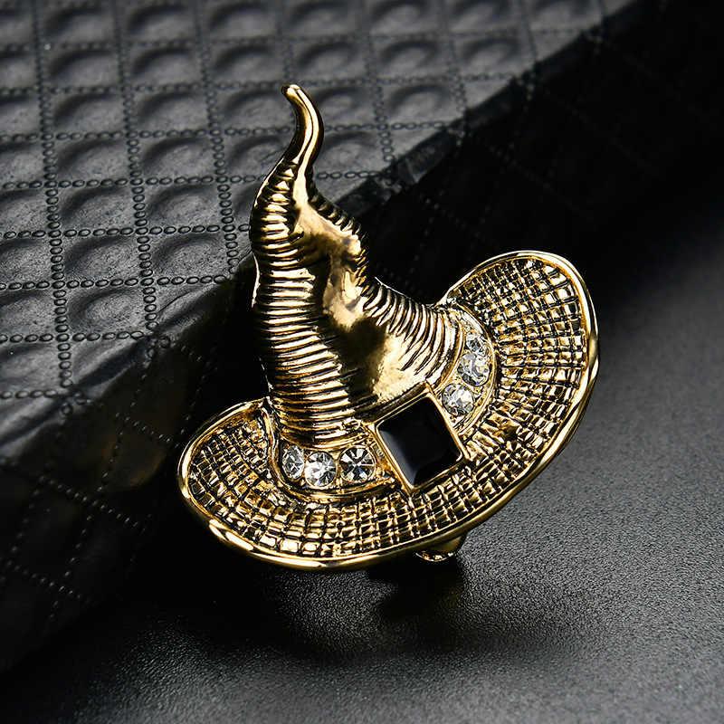 Циркониевая Хрустальная колдовская шляпа ведьмы золотые броши металлический сплав воротник игла пальто костюм лацкан булавка одежда для мужчин и женщин аксессуары