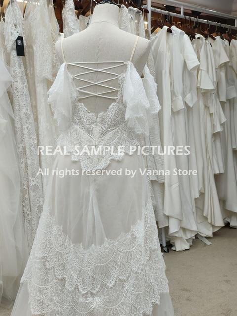 Bohemian Boho Beach Garden Bridal Gown Lace Champagne Spaghetti Straps Backless Destination Wedding Dress Vestido De Noiva #1241 6