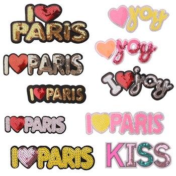 1 Uds. Me encanta París icono bordado hierro en parche para ropa DIY ropa de rayas Patchwork pegatinas para niños insignias personalizadas