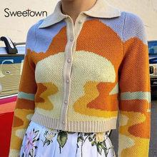 Sweetownヴィンテージ塗装ニット美的カーディガンセーター女性ターンダウン襟長袖 90sニットファッションY2K服