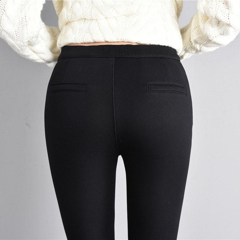 2020 Winter Warm Velvet Thick Skinny Pants Women Plus Size High Waist Trousers Female Clothing Pencil Pants Femme Y0129